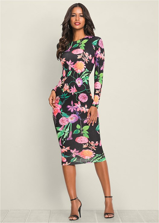 FLORAL BODYCON DRESS,CIRCLE DETAIL CROSSBODY,CONFIDENCE SHAPING ROMPER