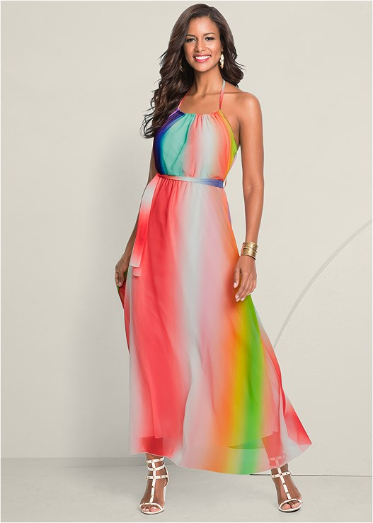 STRIPED MAXI DRESS,STUDDED GLADIATOR WEDGE,CIRCLE DETAIL CROSSBODY