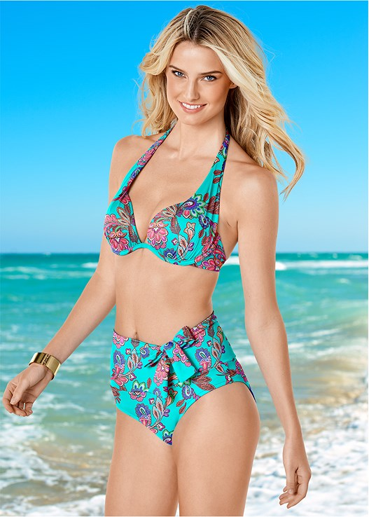 MARILYN PUSH UP BRA TOP,LOW RISE BIKINI BOTTOM,SCOOP FRONT BIKINI BOTTOM,RUFFLE EDGE LOW RISE BOTTOM,OFF THE SHOULDER COVER-UP