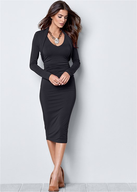 DRESS WITH FAUX SHRUG,POINTY TOE CHUNKY HEEL PUMP,CONFIDENCE SEAMLESS DRESS