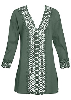 plus size open crochet trimmed tunic