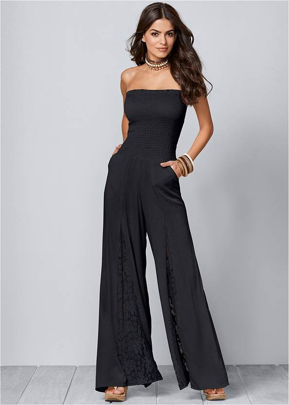 Lace Inset Smocked Jumpsuit,Venus Cupid Bra,Embellished Wedges,Sleeveless Smocked Jumpsuit With Lace Detail