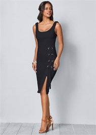 Front view Lace Up Detail Sleeveless Dress