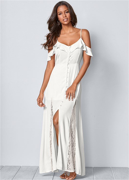 f40b43b5290 COLD SHOULDER MAXI DRESS in White