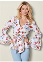 Front view Floral Print Bow Front Top