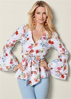 floral print bow front top