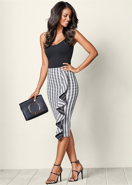 GINGHAM RUFFLE MIDI SKIRT,BASIC V-NECK TANK,HIGH HEEL STRAPPY SANDALS,CIRCLE DETAIL CROSSBODY