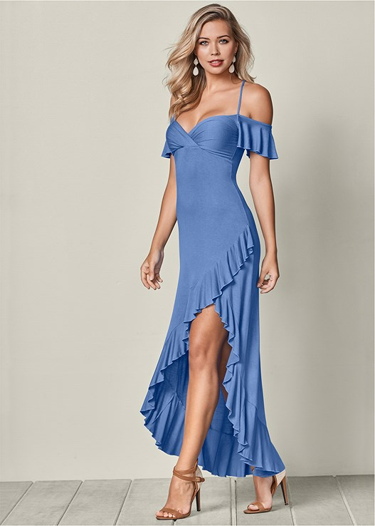HIGH LOW RUFFLE MAXI,RAFFIA DETAIL HEEL