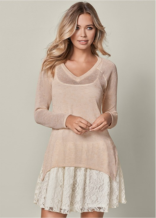 LAYERED SWEATER DRESS