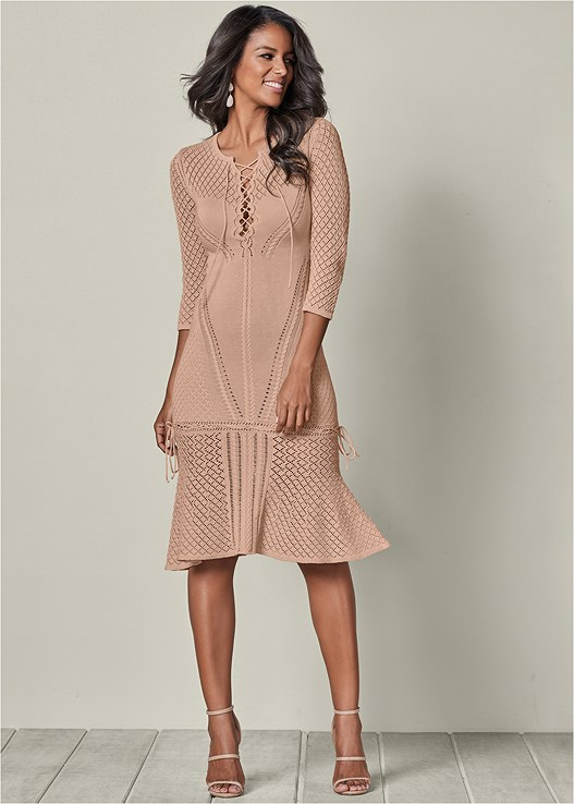 LACE UP SWEATER DRESS in Camel  45ad946f6