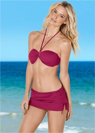 Front View Shapely Ruched Bandeau Top