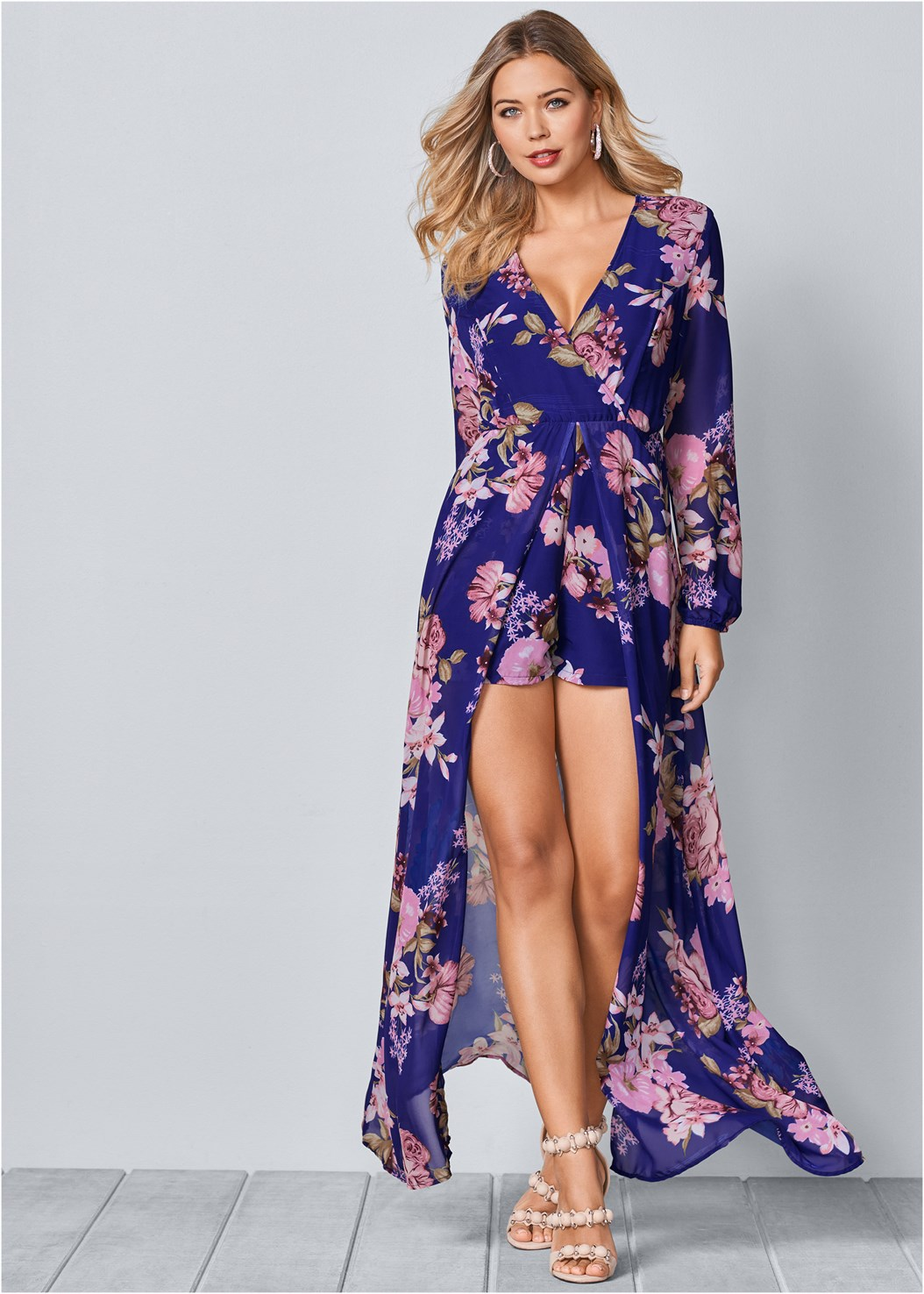 Printed Romper,Venus Cupid Bra,High Heel Strappy Sandals