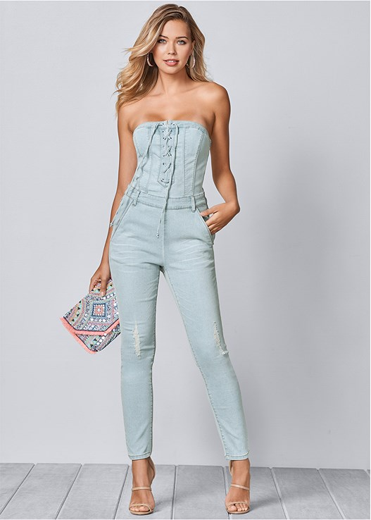 LACE UP DENIM JUMPSUIT,HIGH HEEL STRAPPY SANDAL,CUPID BACKLESS LACE UP BRA