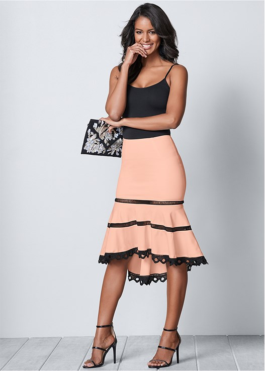 HIGH LOW MIDI SKIRT,SEAMLESS CAMI,LUREX BODYSUIT WITH CUPS,HIGH HEEL STRAPPY SANDALS,TASSEL EARRINGS