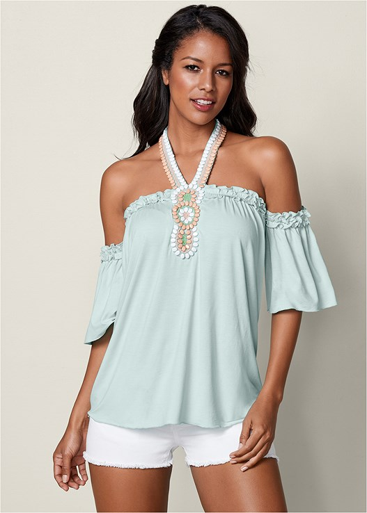 BEADED COLD SHOULDER TOP,CUT OFF JEAN SHORTS,EVERYDAY YOU STRAPLESS BRA