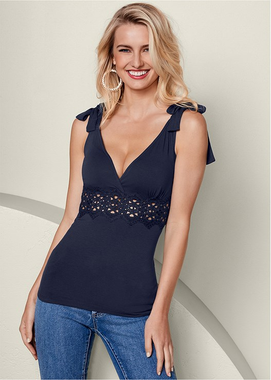 LACE INSET TIE SLEEVE TOP,COLOR SKINNY JEANS