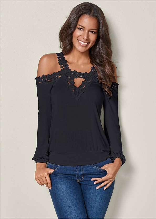 Lace Cold Shoulder Top,Mid Rise Color Skinny Jeans