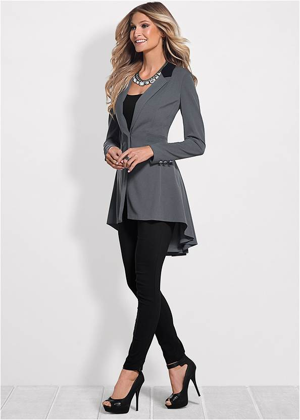 Long Ruffle Back Blazer,Basic Cami Two Pack,Mid Rise Slimming Stretch Jeggings,High Heel Strappy Sandals