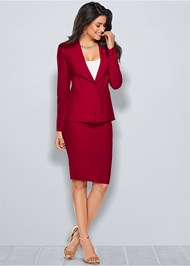 Front View Pencil Skirt Suit Set