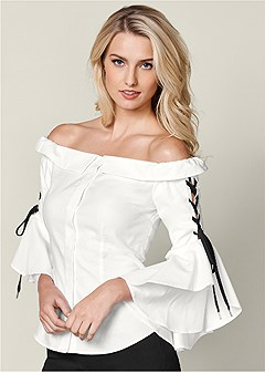 lace up ruffle sleeve top