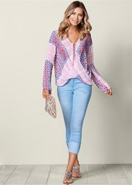 Front view Printed Surplice Blouse
