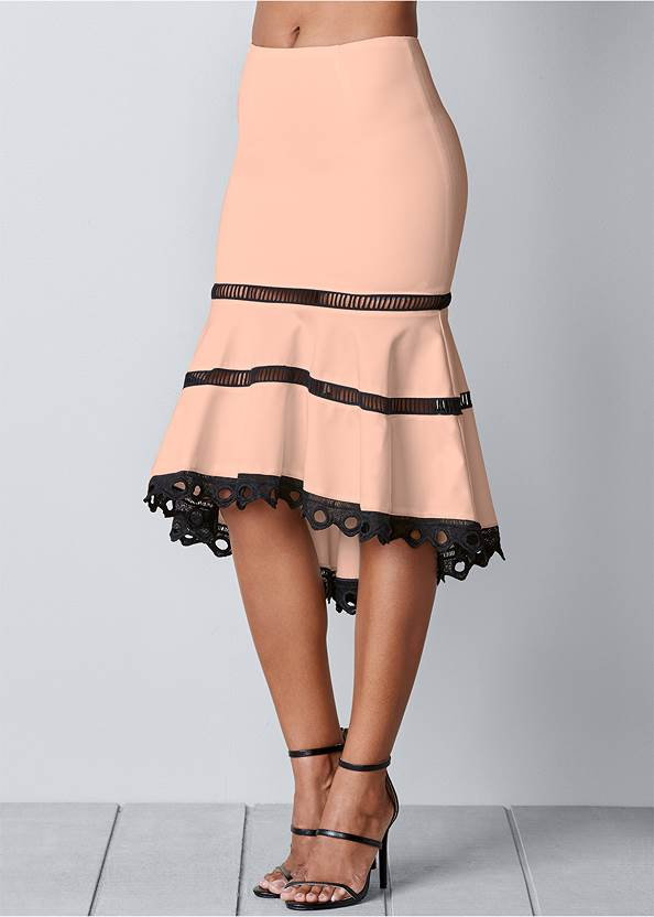 Front view High Low Midi Skirt
