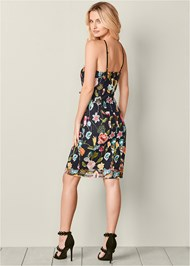 Back view Embroidered Floral Dress