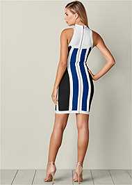 Back View Striped Bodycon Mini Dress