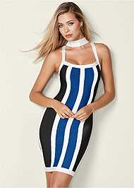 Front View Striped Bodycon Mini Dress
