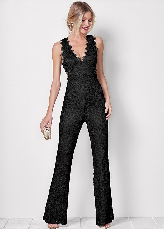 LACE JUMPSUIT,HIGH HEEL STRAPPY SANDALS