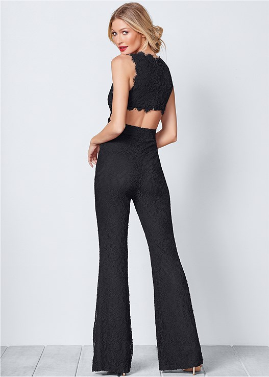 LACE JUMPSUIT,HIGH HEEL STRAPPY SANDALS,KISSABLE SMOOTH EDGES DEMI