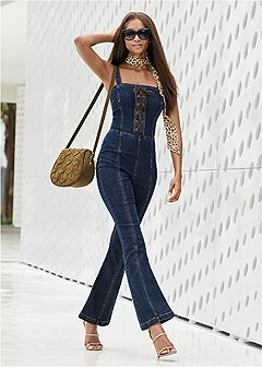 lace up denim jumpsuit
