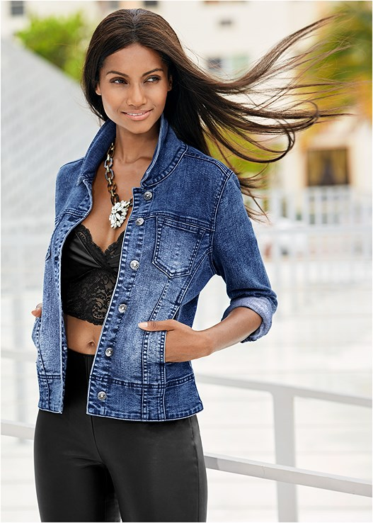 NATURAL BEAUTY FAUX LEATHER,JEAN JACKET,FAUX LEATHER LEGGINGS