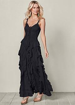 lace up ruffle maxi dress