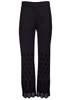 plus size eyelet detail pants