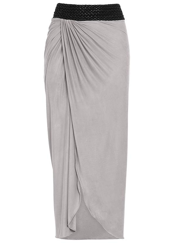 Alternate view Faux Leather Waistband Detail Maxi Skirt