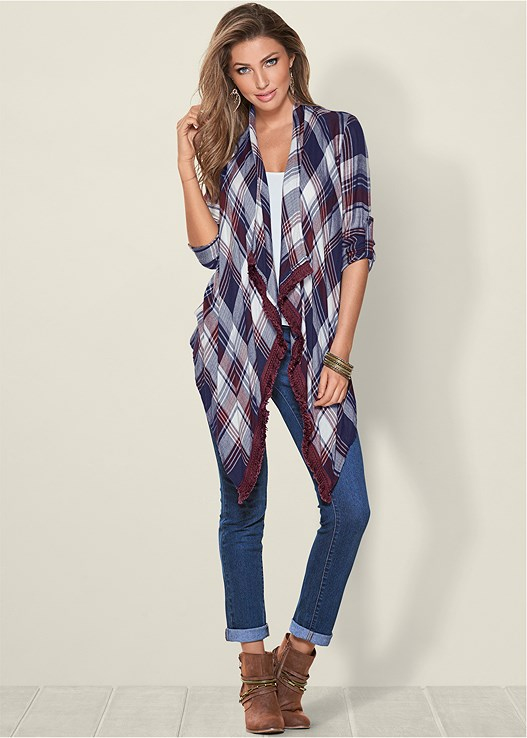 PLAID AND FRINGE CARDIGAN,SEAMLESS CAMI,COLOR SKINNY JEANS,NATURAL BEAUTY LONGLINE BRA