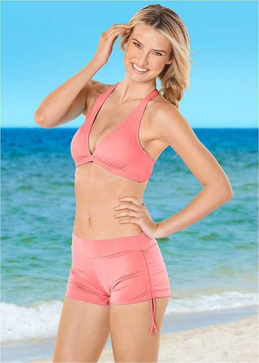 ADJUSTABLE SIDE SWIM SHORT,BEACH BELLA HALTER TOP