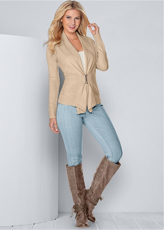 BUCKLE FRONT CARDIGAN,SEAMLESS CAMI,COLOR SKINNY JEANS,EMBELLISHED WESTERN BOOT