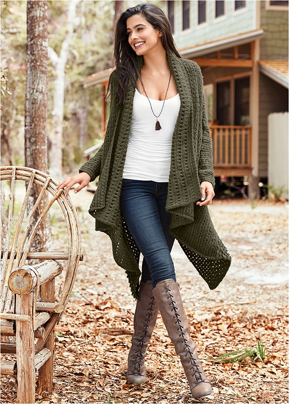 Open Knit Cardigan,Buckle Knee High Boots,Lace Up Tall Boots