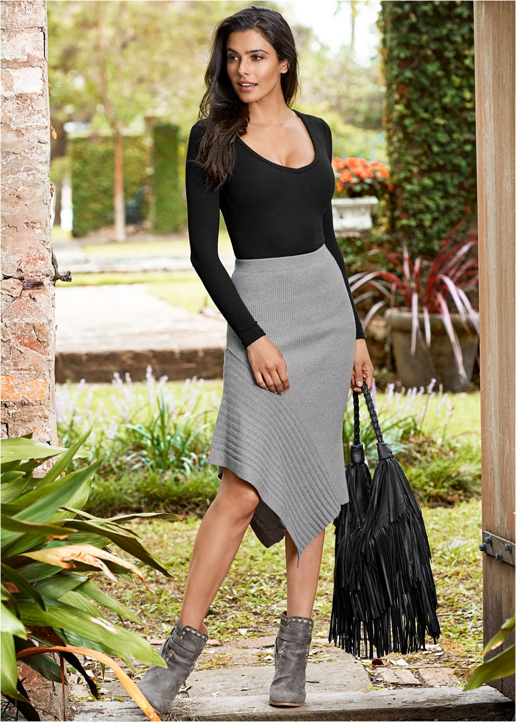 Sweater Asymmetrical Skirt,Ribbed V-Neck Top,Jean Jacket,Basic Cami Two Pack,Wrap Stitch Detail Booties