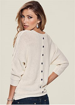button back detail sweater