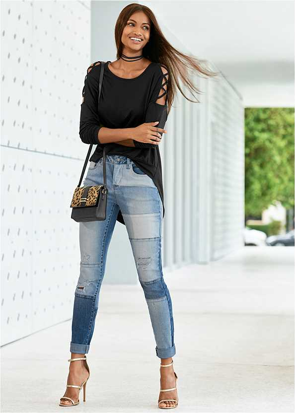 Distressed Patchwork Jeans,Long And Lean V-Neck Tee,Sleeve Detail Top,High Heel Strappy Sandals