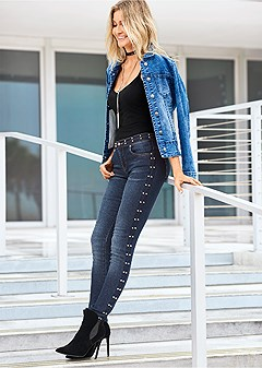 side stud detail jeans