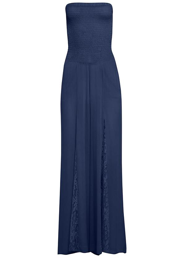 Alternate View Sleeveless Smocked Jumpsuit With Lace Detail