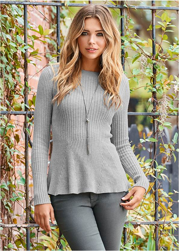 Ribbed Peplum Sweater,Mid Rise Color Skinny Jeans,Gold Statement Heel Boots