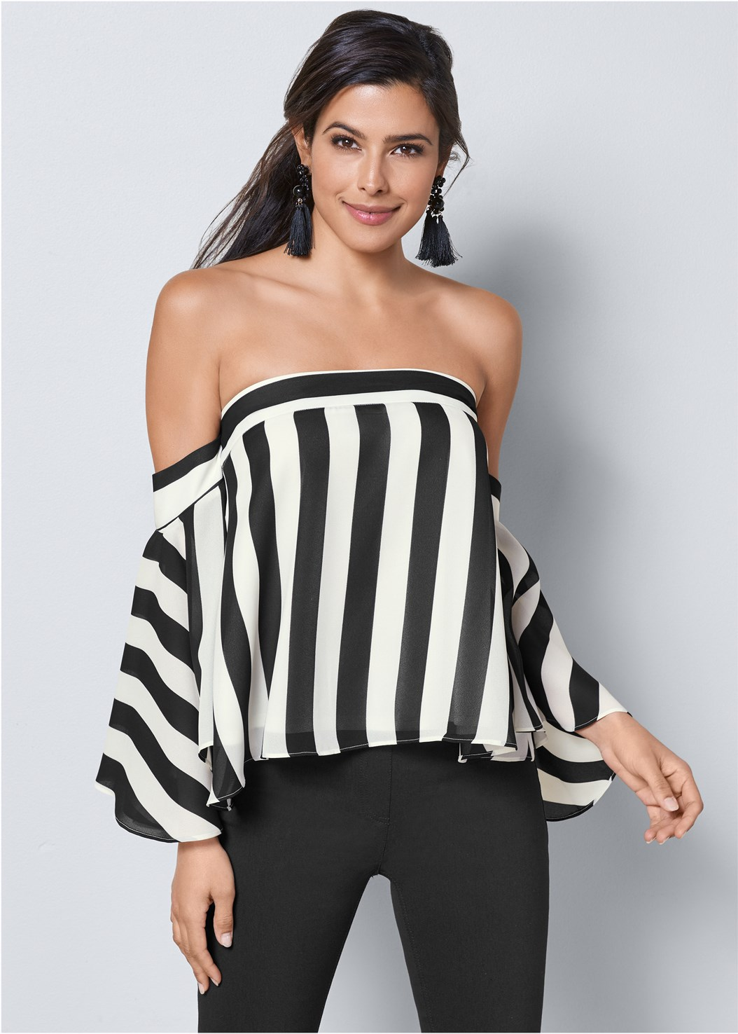 Stripe Bell Sleeve Top,Mid Rise Slimming Stretch Jeggings,High Heel Strappy Sandals