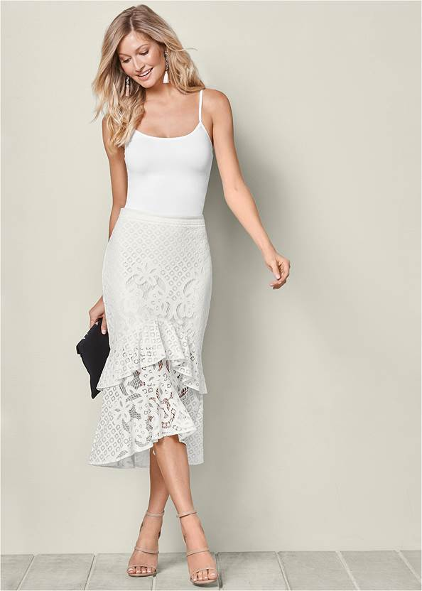 Lace Ruffle Midi Skirt,Basic Cami Two Pack,Ribbed Long Sleeve Top,High Heel Strappy Sandals