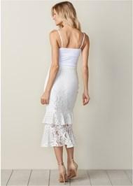 Back View Lace Ruffle Midi Skirt