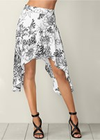 floral shark bite hem skirt